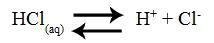 Equação de ionização do ácido clorídrico (HCl)