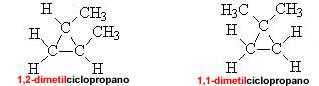 Isomeria de posição: 1,1-dimetilciclopropano e 1,2-dimetilciclopropano