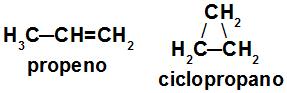 Fórmula estrutural do propeno e do ciclopropano