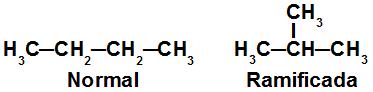 Fórmulas estruturais de isômeros de cadeia