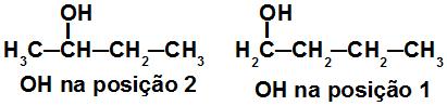 Fórmulas estruturais de isômeros de posição