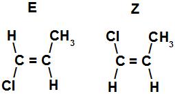 Fórmulas estruturais de isômeros E-Z