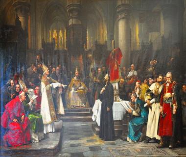 Mestre Jan Huss em apreciação no Concílio de Constança, tela de Václav Brozik (1851-1901)