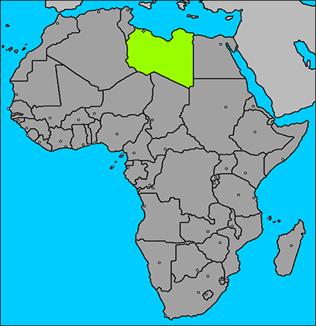 Localização da Líbia no mapa da África