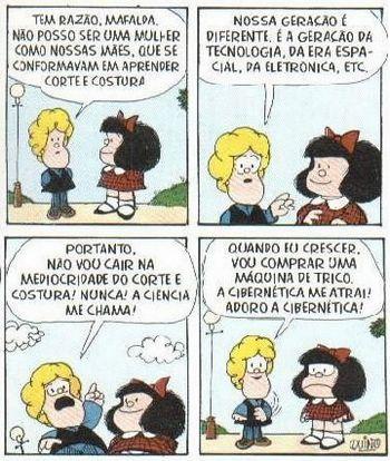 Diálogo entre Mafalda e Susanita sobre a evolução tecnológica