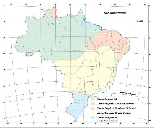Representação cartográfica dos climas do Brasil, segundo o IBGE.