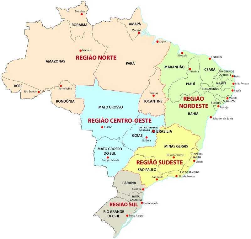 Segundo a classificação do IBGE, o Brasil é dividido em cinco regiões.