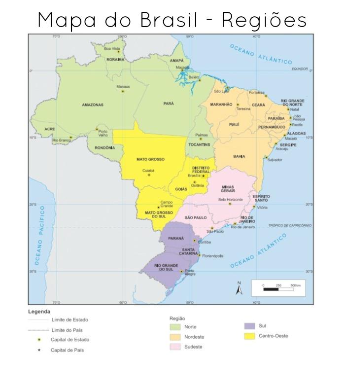 Mapa das regiões do Brasil. (Fonte: IBGE)