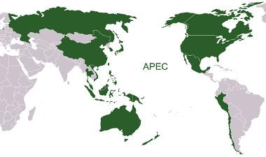 Mapa dos países-membros da Apec *
