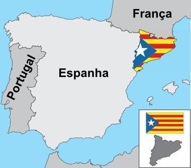 Mapa da localização da região da Catalunha na Espanha