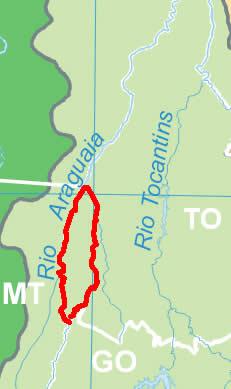 Mapa de localização da Ilha do Bananal, Tocantins