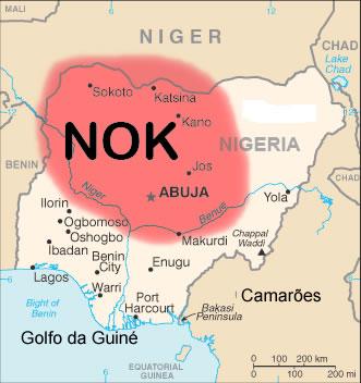 Mapa indicando onde se localizaram os povos da cultura Nok.**