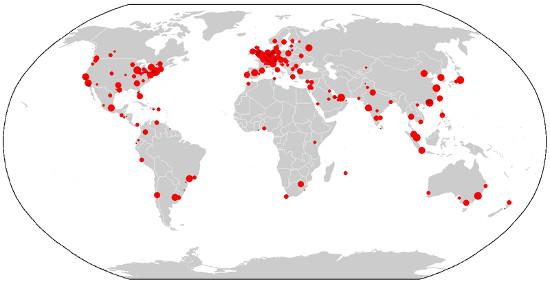 Mapa com as cidades acima listadas ²