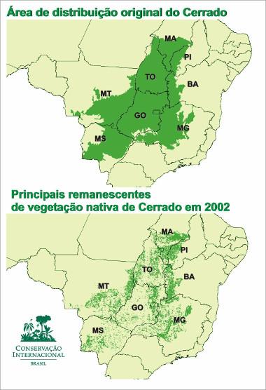 Mapa comparativo entre as áreas originais e a vegetação remanescente do Cerrado ²