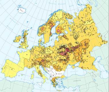 O mapa acima destaca as áreas na Europa que foram afetadas pela nuvem radioativa decorrente do acidente de Chernobyl