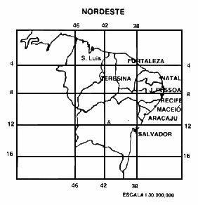 Mapa de localização da região do Nordeste brasileiro