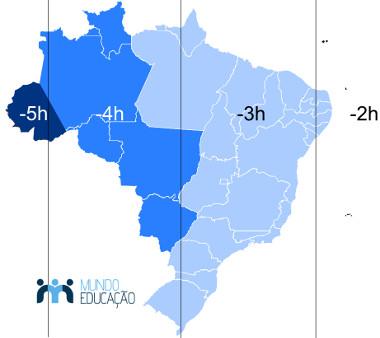 Mapa atualizado dos fusos horários no Brasil