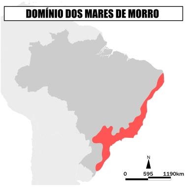 Mapa de localização dos Mares de Morro ao longo do litoral atlântico