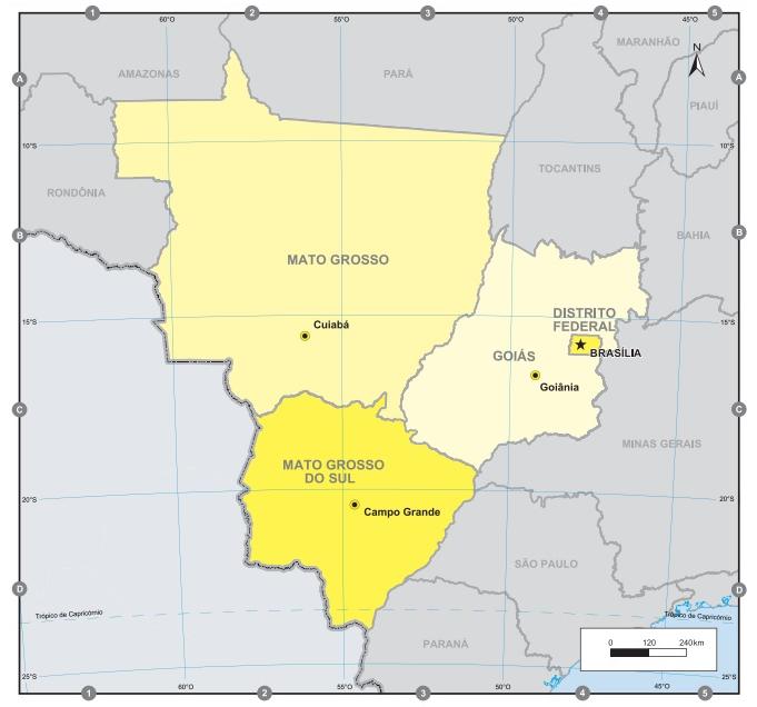A Região Centro-Oeste compreende apenas três estados e o Distrito Federal. (Fonte: IBGE)