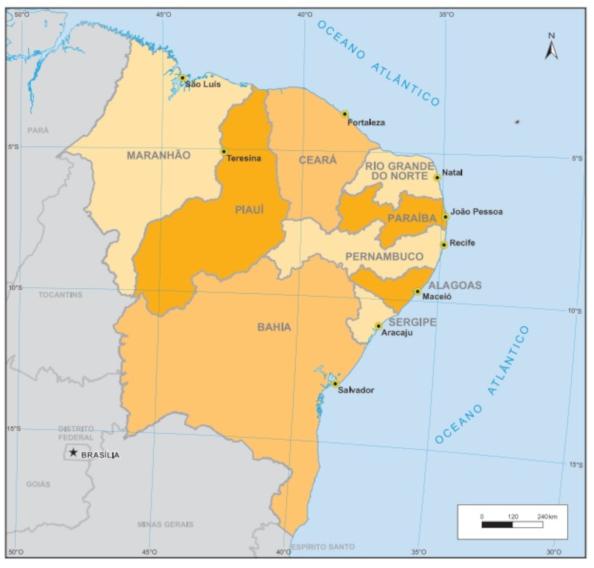 A Região Nordeste do Brasil compreende nove estados e tem o maior número de unidades federativas do país. (Fonte: IBGE)