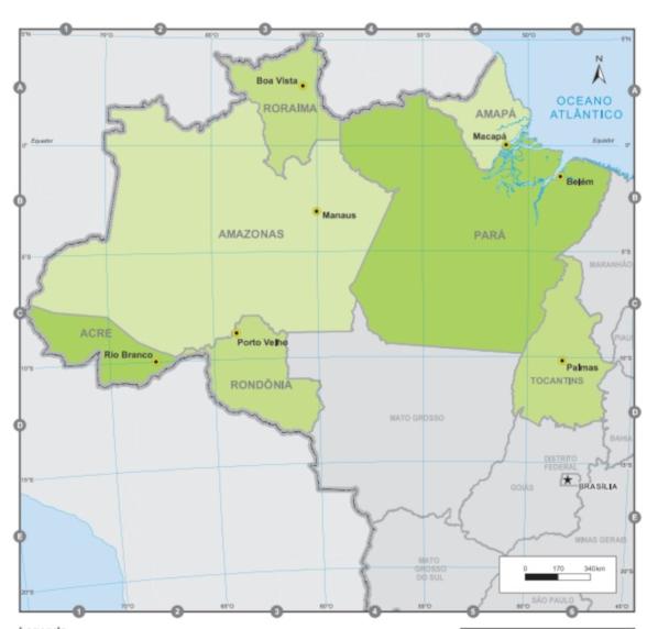 O mapa da Região Norte do Brasil representa as sete unidades federativas que compõem essa região. (Fonte: IBGE)