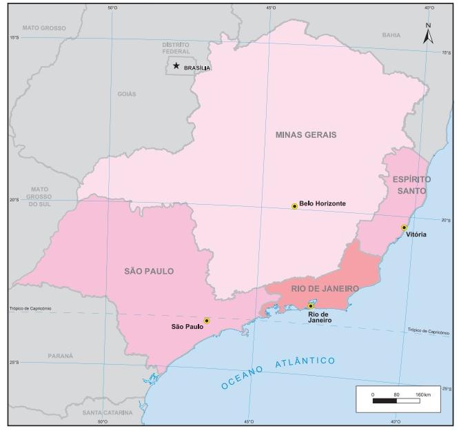 A Região Sudeste do Brasil compreende os estados de São Paulo, Rio de Janeiro, Espírito Santo e Minas Gerais. (Fonte: IBGE)