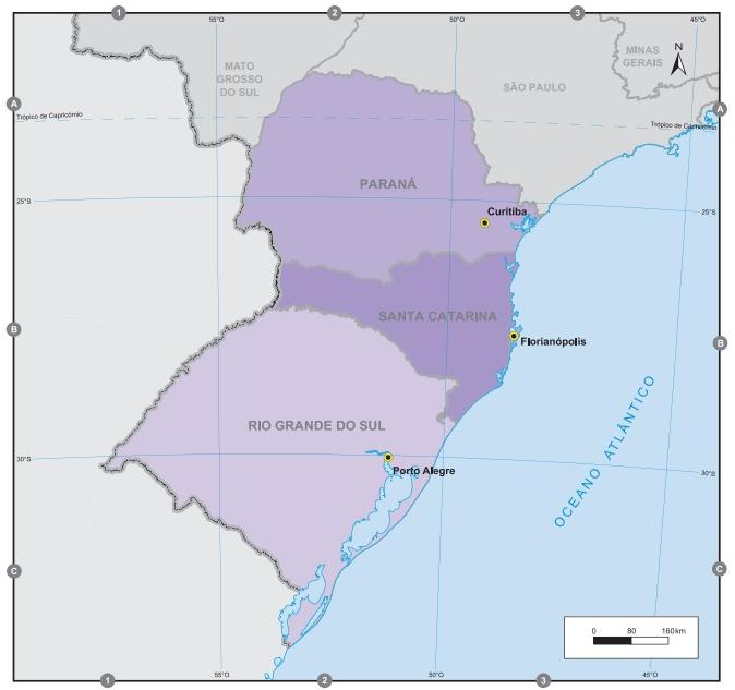 A Região Sul é composta por apenas três estados, sendo, portanto, a menor do país. (Fonte: IBGE)