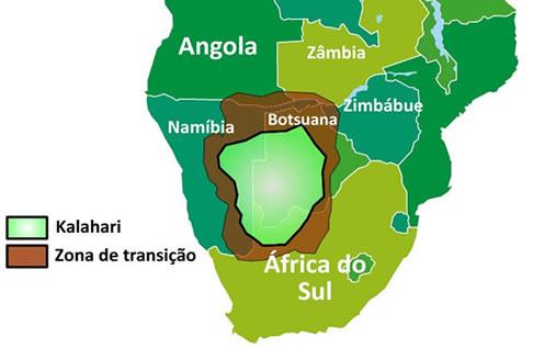 Mapa de localização do Deserto do Kalahari
