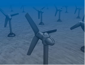 Turbinas no fundo do mar para geração de energia maremotriz