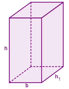 Prisma com destaque para as medidas de h, h1 e b