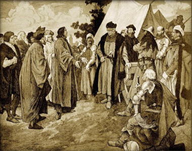 Jan Rokycana entregando mensagem de Praga a Jan Zizka, em 1424, em gravura de Venceslav Cerny