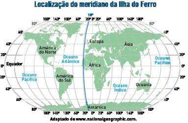 Mapa com a localização do meridiano da Ilha do Ferro
