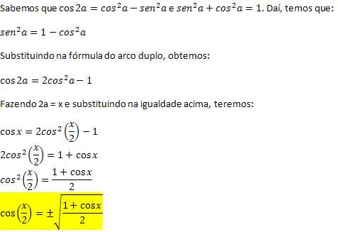 Favoritos Fórmulas do arco metade. Determinando as fórmulas do arco metade  CF23