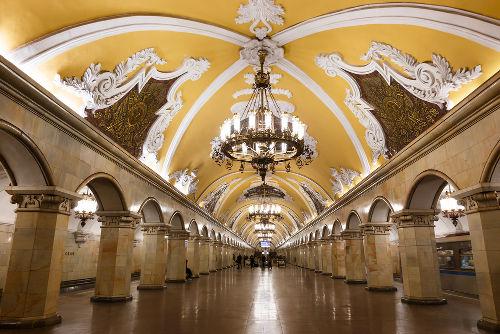 Saguão de uma estação do metrô de Moscou