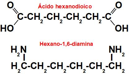 Fórmulas estruturais dos monômeros da poliamida.