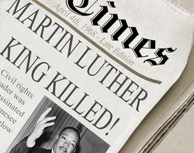 Manchete de jornal noticiando a morte de Martin Luther king