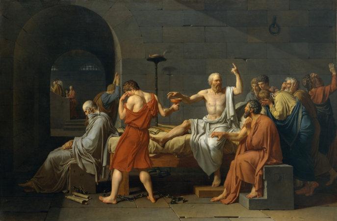 """A cena da morte de Sócrates foi imortalizada pelo pintor francês Jacques-Louis David (1748 – 1825), na tela """"A morte de Sócrates"""", de 1787."""