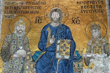 Mosaico bizantino que mostra o imperador Constantino IX, um dos soberanos do Império Bizantino *