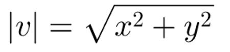 Fórmula utilizada para calcular a norma do vetor v = (x,y)