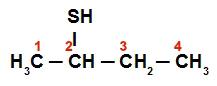 Numeração da cadeia do Butan-2-tiol