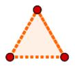 Triângulo equilátero formado por três unidades