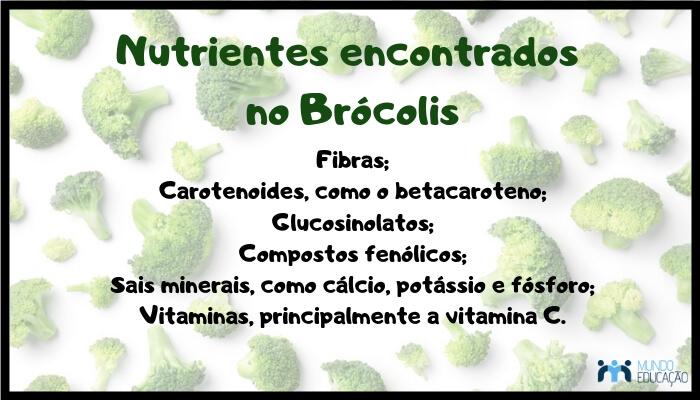 No brócolis encontramos vários nutrientes e fitonutrientes (nutrientes não tradicionais).