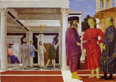 Pode-se observar nitidamente a aplicação da perspectiva nesse quadro de Piero della Francesca