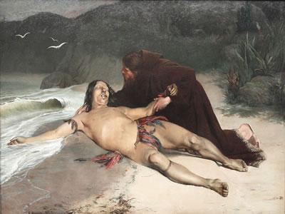 Quadro O último tamoio, de Rodolfo Amadeo (1857-1941), retratando o fim das guerras entre os indígenas e portugueses