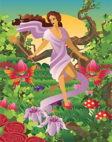 Representação moderna de Ostara, deusa da fertilidade na mitologia germânica.
