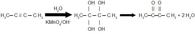 Equação de oxidação branda do but-2-ino