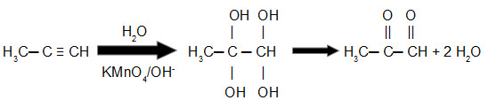 Equação de oxidação branda do propino