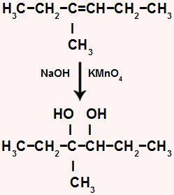 Oxidação branda de um alceno que resulta em um diálcool