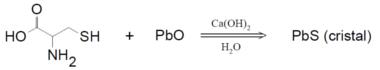 Reação entre o óxido de chumbo e cisteína