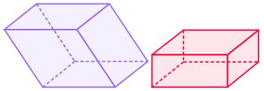 Paralelepípedo retângulo à esquerda e reto-retângulo à direita